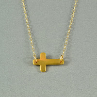 Sideways Cross Necklace, 24K Gold Vermeil, 14K Gold Filled Chain, Pretty, Simple, Delicate, Everyday Wear Jewelry