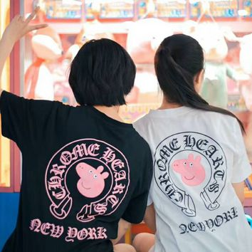 Chrome Hearts × Peppa Pig Coupling Men and Women Couples Half Sleeve Base Shirt Horseshoe Print F-YF-MLBKS white