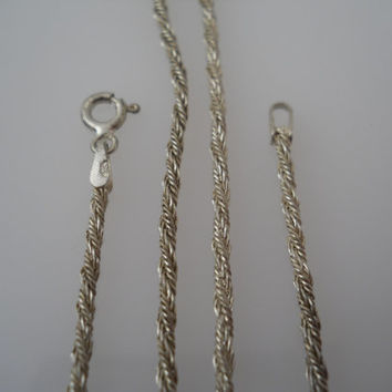 Sterling Silver 925 Twisted Rope Necklace Chain 19 in 2mm SU Italy 925
