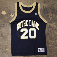 Notre Dame #20 Champion Basketball Jersey Navy / Gold (Size 40 / Small)