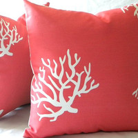 Pillow cover, Coral and white indoor outdoor beach pillow cover - 18 x 18