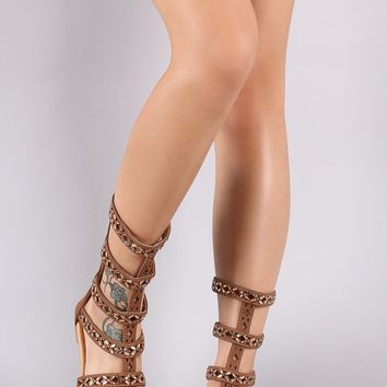 Jeweled Open Toe Strappy Gladiator Flat Sandal