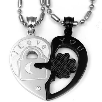 "Fashion Valentine ""Love You"" lock and key couples necklace set Titanium Stainless Steel Heart Necklaces For Women Men (One Pair)"