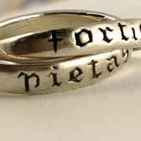 Fortis Pietas Interlocking Double Sterling Silver Ring Size 5