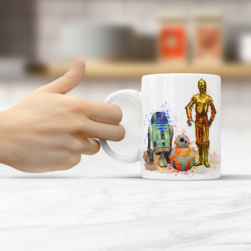 Star Wars R2-D2, BB-8 and C-3PO Mug, Star Wars Coffee - Tea Mug, R2D2 - BB 8 - C 3PO cup, watercolor art mug Star Wars