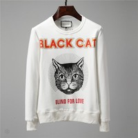 GUCCI autumn and winter long-sleeved round neck cat head totem men's personality round neck sweater White