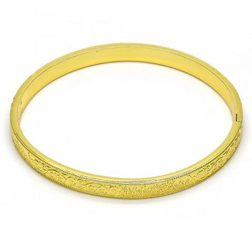 Gold Layered 07.156.0038.04 Individual Bangle, Diamond Cutting Finish, Golden Tone (05 MM Thickness, Size 4 - 2.25 Diameter)