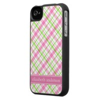 Customizable Pink and Green Plaid iPhone 4 Case from Zazzle.com