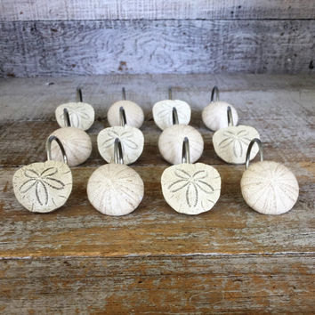 Curtain Hook 12 Drapery Hooks Sand Dollar Shower Curtain Hooks Shell Curtain Rings Nautical Drapery Hooks Unique Drapery Hooks Beach House