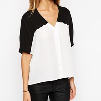ASOS | ASOS Mono Color Block Cropped V Neck Kimono Blouse at ASOS