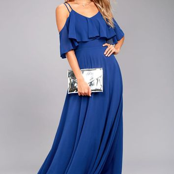 Earthly Desire Royal Blue Off-the-Shoulder Maxi Dress
