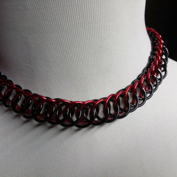 Red and Black Chainmail Choker Necklace Half Persian 4 in 1 Weave