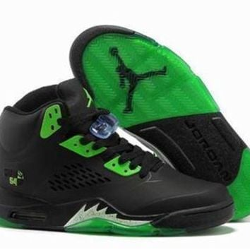 Cheap Air Jordan 5 Retro Men Shoes Black Green