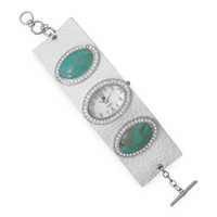 7.5in + 1in White Leather and Imitation Turquoise Fashion Watch
