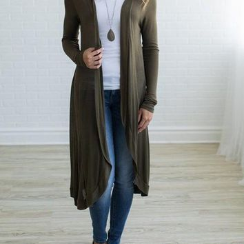 Casual Long Sleeve Maxi Cardigan Sweater
