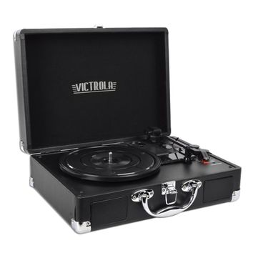 Innovative Technology VSC-550BT Victrola 3-Speed Vintage Bluetooth Suitcase Turntable (Black)