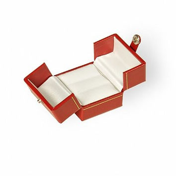 Red Ring Box Classic Delux R4U Collection Jewelry Wedding Engagement Box with a Fun Two-door Closure.