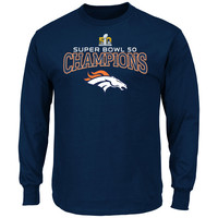 Majestic Denver Broncos Navy Super Bowl 50 Champions Choice VIII Long Sleeve T-Shirt