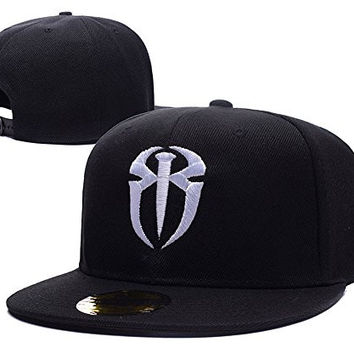 HAIHONG Roman Reigns Logo Adjustable Snapback Caps Embroidery Hats - Black