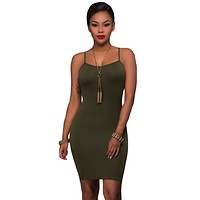 Army Green Seamless Bodycon Dress