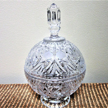 Irena Crystal Dish Candy Lidded 24% Lead Cut Glass Made in Poland Vintage blm
