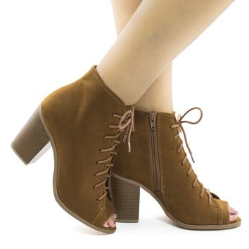 Hush Tan By Soda, Peep Toe Lace Up High Block Heel Ankle Booties