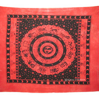 Red Queen Indian Zodiac Cotton Hippie Tapestry Wall Hanging