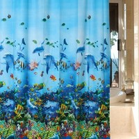 "Blue Ocean Sea Submarine World Dophin Fishes Bathroom Waterproof Peva 72""*72"" Shower Curtain with 12 Hooks (Size: 180cm by 180cm, Color: Multicolor)"