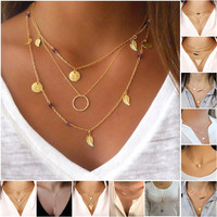 New Hot Fashion Gold Plated Fatima Hand 3 Layer Chain Bar Necklace Beads and Long Strip Pendant Necklaces Jewelry JHS048