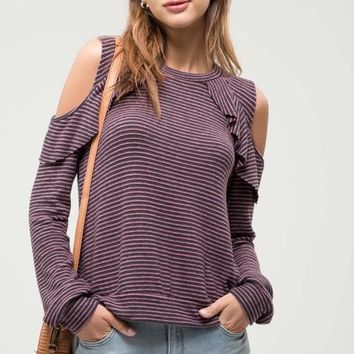 Cold Shoulder Ruffle Top in Navy