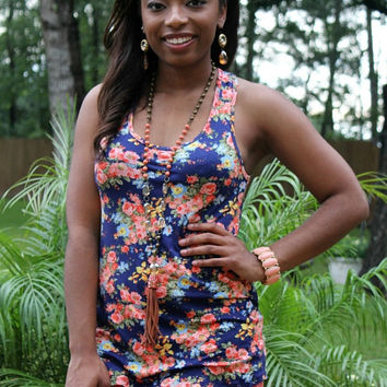 Day Dreaming Floral Tank with Bow on Back in Navy