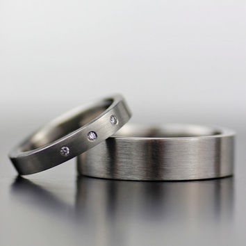 his and hers simple white gold wedding band set - comfort fit three diamond engagement ring and wedding band - recycled conflict free