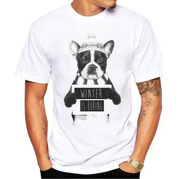 Christmas Bulldog Winter Is Boring Mugshot Men's Short Sleeve Casual White T-Shirt