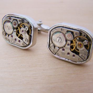 Steampunk Clock Parts Stainless Steel Cuff Links / Gift for Him