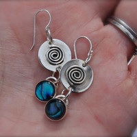 Pau Shell Blue Green. Swirls. sterling silver earrings. OOAK. Circles. handmade.