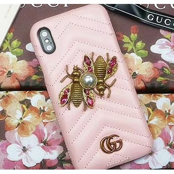 Gucci new metal bee iphone7 / 8 mobile phone shell Apple 6plus stripe x protective sleeve