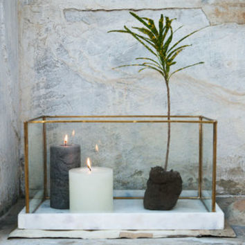 Brass And Glass Terrarium With Marble Base