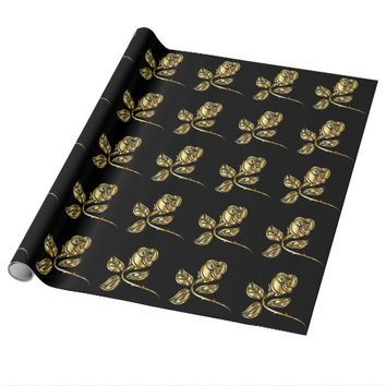 golden rose wrapping paper