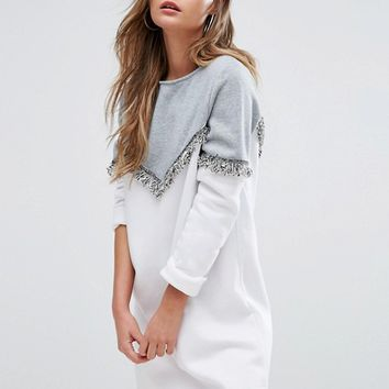 Boohoo Long Sleeve Sweat Dress With Fringe Detail at asos.com