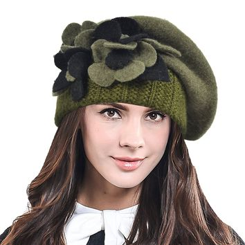 HISSHE Lady French Beret 100% Wool Beret Chic Beanie Winter Hat HY023