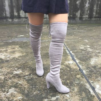 Quality Faux Suede Women Thigh High Boots Stretch Sexy Fashion Over the Knee Boots Fem