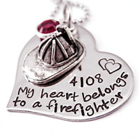 Personalized My Heart Belongs To a Firefighter - Hand Stamped Steel Heart Necklace - Fireman - Firehat