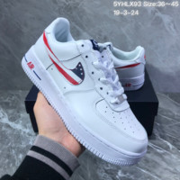 HCXX N1108 Nike Air Force 1 07 American flag hook anti-skid and wear-resistant skate shoes white