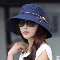 [Dexing]Elegant sun hats Foldable Butterfly knot wide brim Floppy Summer hats for women Outdoor UV Protection
