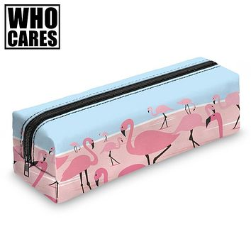 Who Cares Arizona Flamingos Round Pencil Cases Women Organizer Makeup Bags Kids School Pen Bags Gifts Stationery Zipper Pouch