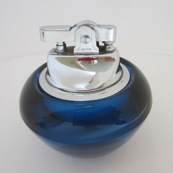 Mid Century Modern Cobalt Glass Japan Table Lighter