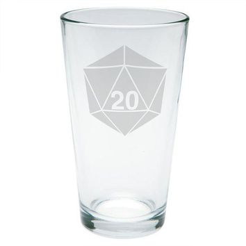 PEAPGQ9 D20 Dice Table Top Game Etched Pint Glass