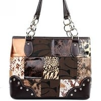 Signature Jacquard Cleto Patchwork Animal Print Fashion Shoulder Handbag Purses in Brown Gold Leopard Snake