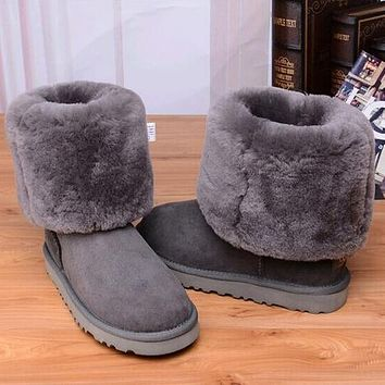 UGG Women Fashion Bow Leather Snow Boots Half Boots Shoes