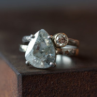 Custom Natural Clear Diamond Slice Ring